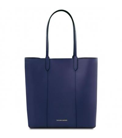 Borsa shopper in pelle - Blu scuro