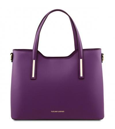 Borsa shopper in pelle - Viola