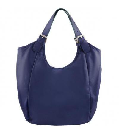 Borsa shopping donna in pelle - Blu scuro