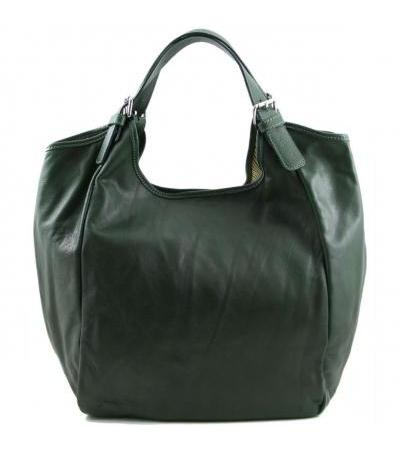 Borsa shopping donna in pelle - Verde scuro