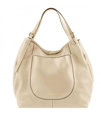 Borsa shopping in pelle morbida - Beige