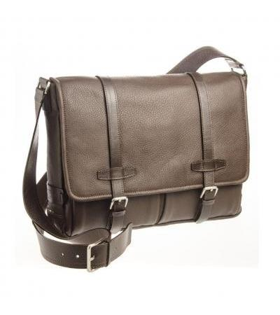 BORSA MESSENGER IN PELLE 73445 DARK BRW