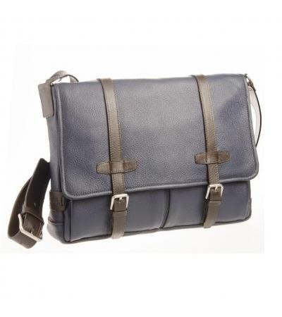 BORSA MESSENGER IN PELLE 73445 BLUE